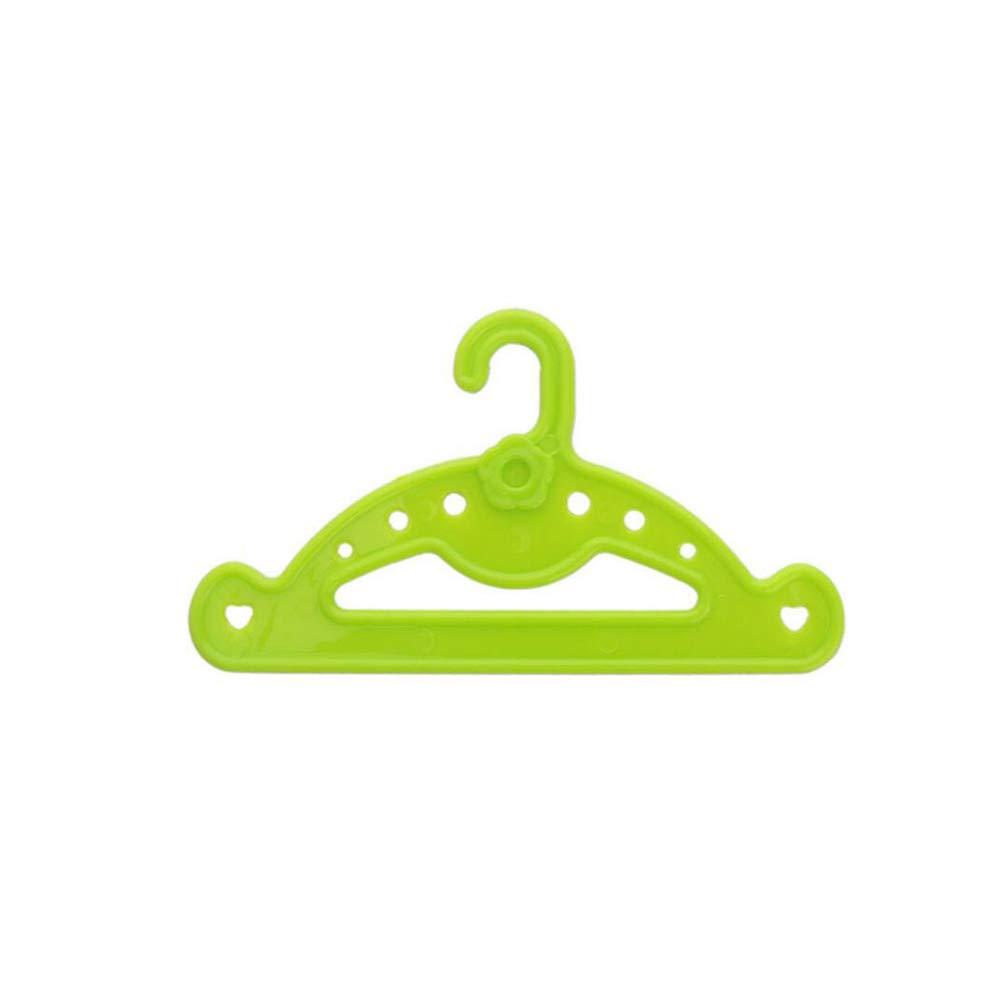 Percha Mini Port/átil Mini Perchas Linda Escudo Doll Dress Armario Camiseta Titular Perchas De La Mu/ñeca De Vestido Mini Juguetes Para Los Ni/ños 10pcs Verde