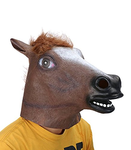 Weird Costumes (Sirwolf wolf Halloween Costume Party Latex Animal Horse Head Mask (1))