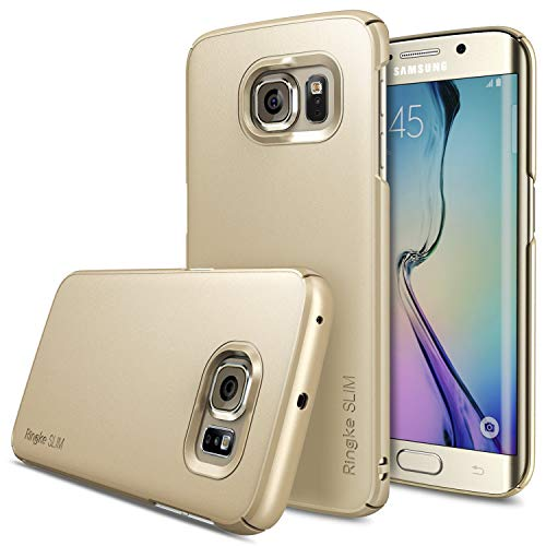 Ringke Slim Compatible with Galaxy S6 Edge Case Snug-Fit Slender Tailored Cutouts Lightweight Side to Side Edge Coverage Superior Coating PC Hard Skin for Galaxy S6 Edge - Royal Gold