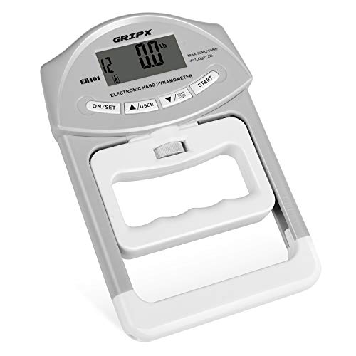 GRIPX Digital Hand Dynamometer Grip Strength Measurement Meter Auto Capturing Electronic Hand Grip Power 198Lbs / 90Kgs