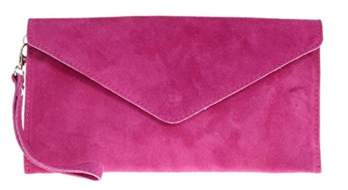 Verapelle Purse Clutch handbag Clutch Shaped Brand Clutch Italian Fuchsia Large Suede bag Prom Genuine Party Rebecca Envelope dzqnz0
