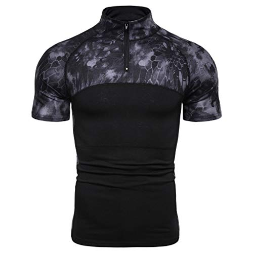 Giulot Mens Big and Tall Camo Outdoor Zipper Shirt Regular Fit Quick Dry Cotton T-Shirt for Running Jogging Gym ()