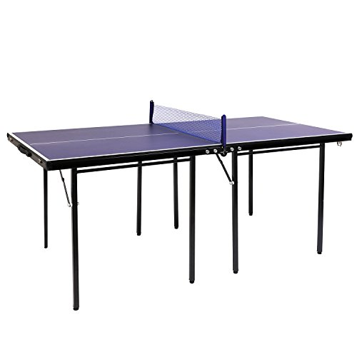 """Hromee Table Tennis Table Great for Small Spaces and Apartments – 60"""" Blue Multi-Use Free Standing Table - Compact Storage Fits in Most Closets - Net Set Included - No Assembly Required"""