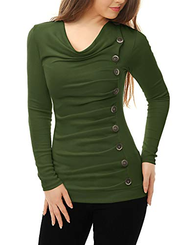 Allegra K Women's Cowl Neck Long Sleeves Buttons Decor Ruched Top M Green (Club Outdoor Houston)