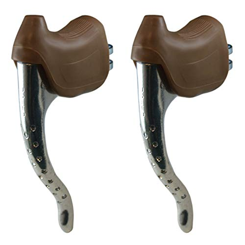 cyclingcolors Bike Brake Lever Set + Brown Lever Hoods Cycle Bicycle Retro Classic Universal 22.2MM Aluminium Fixie SINGLESPEED Road City Retro Classic EROICA Old New NOS LEVERS