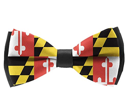 COLORFULSKY Maryland State Flag Pre-Tied Bow Tie Adjustable Bowties for Mens & Boys -