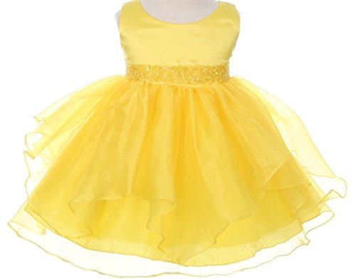 Infant & Baby Flower Girl Dress with Sequin - Girls Flower Dresses Yellow