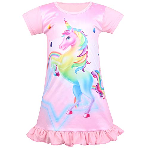 (Nidoul Kid Girls Nightgown Night Dress Unicorn Rainbow Princess Pajamas Sleepwear Nightie (Pink Unicorn#3, Age: 6-7)