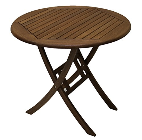 "Outdoor Interiors Z30450 30"" Folding Brazilian Eucalyptus Bistro Table - Plantation grown Brazilian Eucalyptus hardwood Beautiful Brown Umber stain finish that sustains the outdoors for many years 30"" Dia. X 29.5""H Bistro Table pairs with many chairs for endless options - patio-tables, patio-furniture, patio - 411o1XZEo2L -"