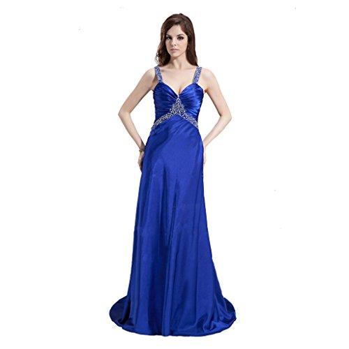 StarGirl Custom Made Womens A-Line Princess V-neck Sweep Train Charmeuse Prom Dress With Ruffle Beading Royal Blue Size 16 ()