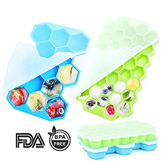 FEIAA Silicone Ice Cube Tray with Lid, 2 Pack Small and Large Honeycomb Ice Trays Molds BPA Free Easy-Release Stackable Mould for Whiskey,Cocktail,Drinking