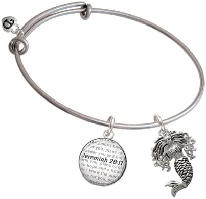 Mermaid Bible Verse Jeremiah 29:11 Glass Dome Bangle Bracelet