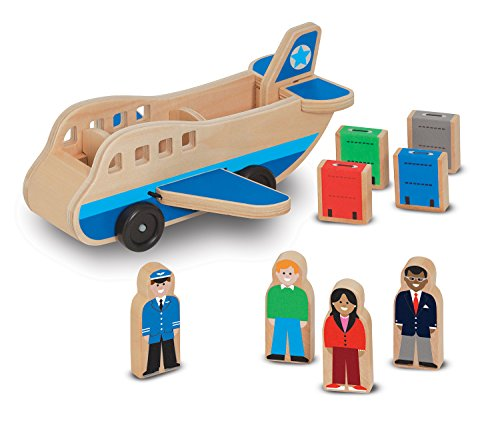 Melissa & Doug Wooden Airplane Play Set With 4 Play Figures and 4 -