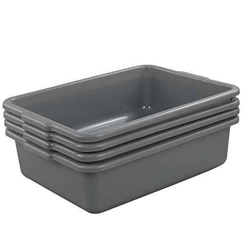 (Idomy Small Plastic Wash Basin, Small Bus Tub/Box, 4-Pack, Gray )