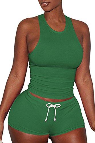 VamJump Womens Sports Outfit Sets 2 Piece Racerback Tank Top High Waist Shorts 2 Piece Sets Green XL