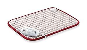 Beurer HK Confort Almohadilla electrónica de tacto suave, 44 x 33 cm, lavable, color beige y granate