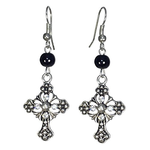 Ornate Christian Cross with Rhinestones & Bead Silver Tone Dangle Earrings (Black Bead)