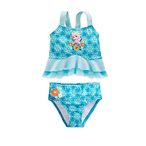 Little and Big Girls' Frozen Princess Deluxe Two-piece Blue Tankini Swimsuit