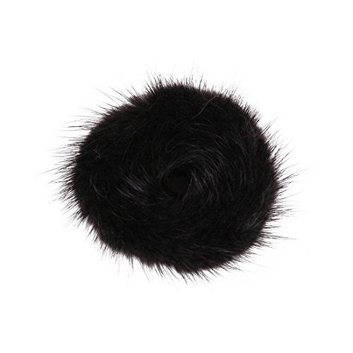 URSFUR Women's Wristband Mink Fur Scrunchine Hairband Pom Pom Hair Tie Ring
