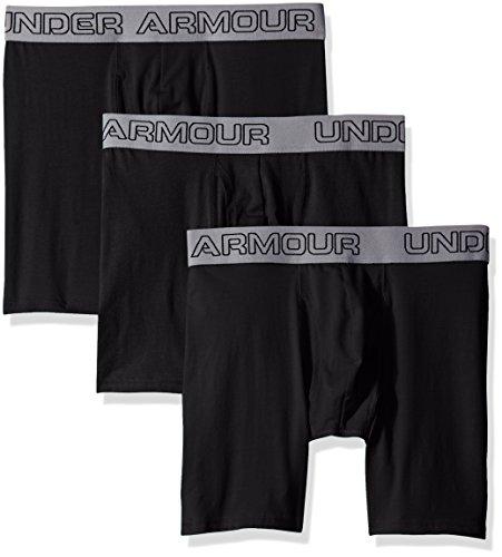 (Under Armour Cotton Stretch 6IN Boxer Short - 3 Pack - Men's Black / Black / Black)