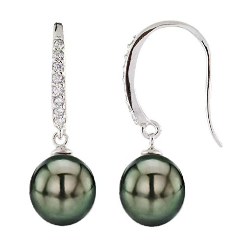 (Handpicked AAA+ 9-10mm Black Tahitian Cultured Pearls 925 Sterling Silver Rhodium-plated Hook Earrings with CZ Accent)