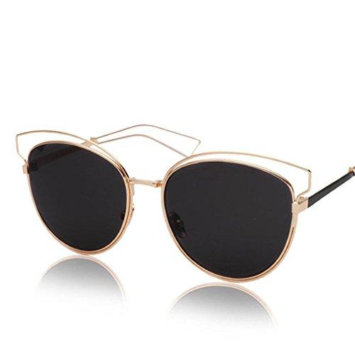 HUHUXIAOWU Color dorado Gafas Película Nuevas Reflectantes de Gafas de Marco Película Película Negra Marco negra Sol Personalidad Gran Dorado Retro de de marco de Sol wqxqS85r
