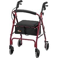 """Andador Rollator clásico NOVA GetGo (tamaño estándar), andador con ruedas para altura 5'4 """"- 6'1"""", altura del asiento es 22.25 """", color rojo"""