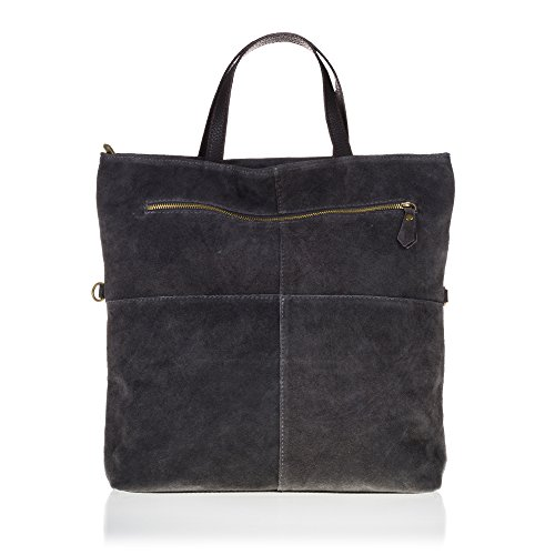 Auténtica Artegiani Artegiani bolso Auténtica Acabado In Shopping Bag Gamuza Made Woman bolso Firenze Shopping Gray Gray Color Suede Gris Genuine Gris Bag Mujer 35x40x10 Piel Cm Color Women 35x40x10 Vera Cm Skin Cuero Firenze Pelle Italian Leather Genuino De Italiana Italy Pelle Vera Finish Mujer bolso bolso Made Italy In q0dZw