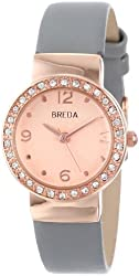 "Breda Women's 2368-rosegold/grey ""Jennifer"" Rhinestone-Accented Rose Gold-Tone Watch with Grey Faux Leather Band"