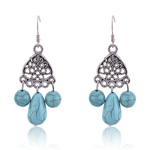 Lureme Vintage Teardrop and Round Turquoise Bead Silver Tone French Hook Chandelier Dangle Earrings for Women (2002316-1)