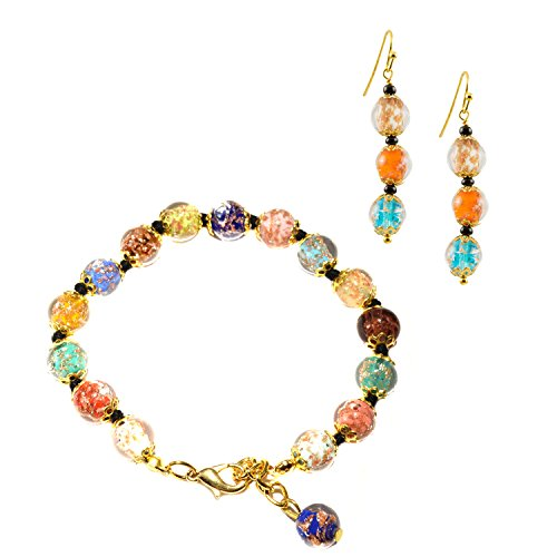 (Just Give Me Jewels Genuine Venice Murano Sommerso Aventurina Glass Bead Bracelet and Earrings Set,)