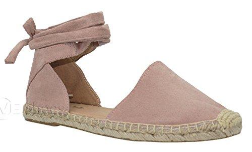 (MVE Shoes Women's Lace Up Sandals - Faux Leather Cute Summer Sandals -Wrap Gladiator Flat Sandals, Mauve ISU Size 5.5 )