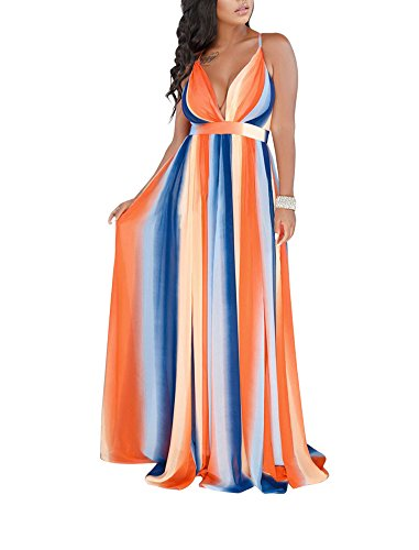 Remelon Womens Sexy Spaghetti Strap Deep V Neck Rainbow Stripe Criss Cross Backless Chiffon Beach Party Long Maxi Dress Multi XL