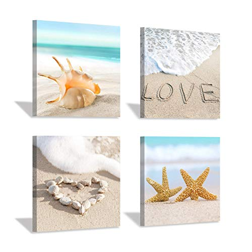 Hardy Gallery Ocean Seashell Picture Canvas Print: Sea Star on Beach Artwork Painting Wall Art for Bedroom (12''x12''x4pcs)