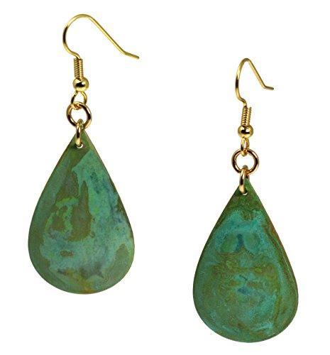 Green Patinated Copper Tear Drop Earrings By John S Brana Handmade Jewelry Durable Copper Earrings