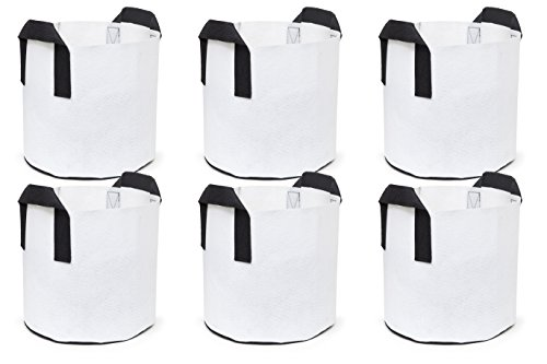 247Garden 6-Pack 7 Gallon Grow Bags/Aeration Fabric Pots w/Handles (White) by 247Garden