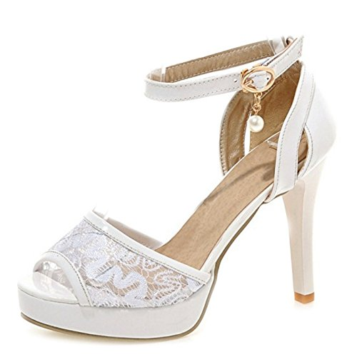 SJJH Sandals with Lace Materail and Large Wedding Party Women Sandals with Stiletto and Thick Platform White sEzE7DRK