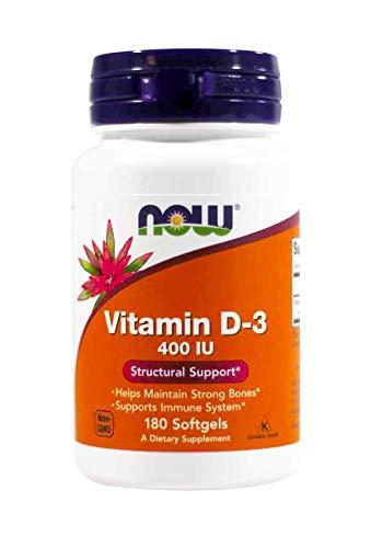 NOW Foods Vitamin D-3 400 IU Softgels, 2 pk