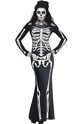 [JE Womens Long Skeleton Dress Adult Halloween Costume (One Size)] (Adult Vampire Halloween Costumes)