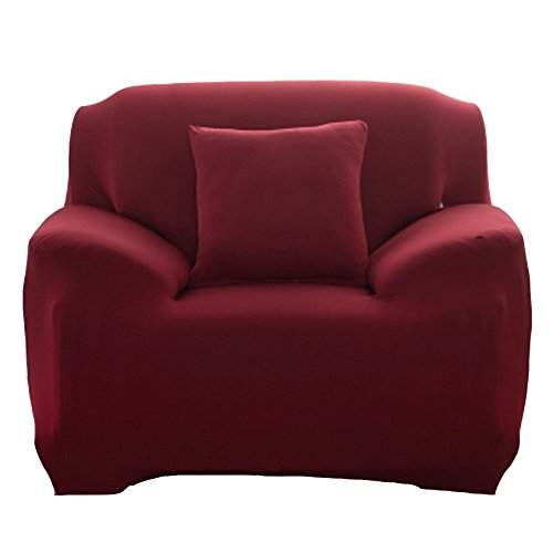 Arm Chairs Burgundy Polyester Fabric - Fanjow Solid Color Stretch Arm Elastic Armchair Slipcover Polyester Spandex Fabric 1-Piece Stretch Slipcover For Chair Loveseat Sofa Without Pillow (1-seat Chair, Burgundy)