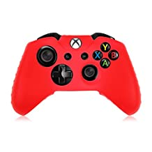 HDE Xbox One Controller Skin Protective Silicone Gel Rubber Grip Cover for Wireless Gaming Controllers (Red)