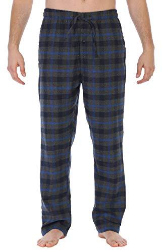 (Gioberti Mens Brushed Flannel Pajama Pants, Elastic Waist, Charcoal/Navy/Rolyal Blue,)