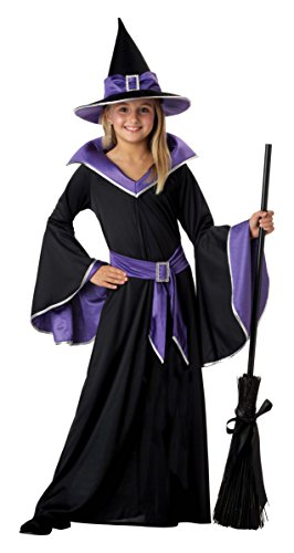 Glamour Costumes (California Costumes Incantasia The Glamour Witch Girls Costume with Broom & Wand Bundle Costume, Black/Purple)