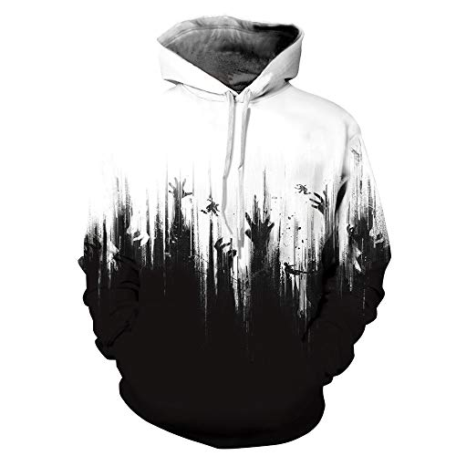 Halloween Costume Women Men Scary Skeleton Blood 3D Print Hoodie Sweatshirt Top(F,XXL/XXXL) ()