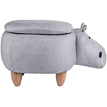 Leopard Hippo Storage Ottoman Stools, Ride On Animal Storage Footrest  Upholstered Stool With Storage