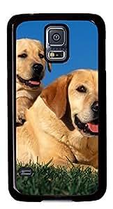 Beautiful Little Dog Sat on Mother's Back DIY Hard Shell Black Best Fashion Samsung Galaxy S5 I9600 Case