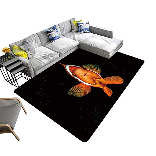 Contemporary Indoor Area Rugs Clown Fish While Looking at You on The Black Background While Diving in Indonesia Carpet for Children Home Decorate 22 x 60 inch