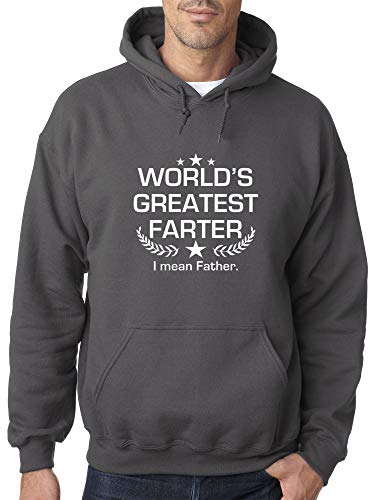 Trendy USA 1121 - Adult Hoodie World's Greatest Farter I Mean Father Unisex Pullover Sweatshirt Small Charcoal