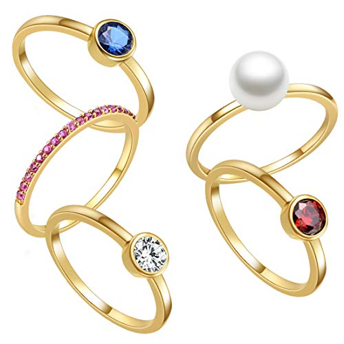 - E 18K Yellow Gold Plated Shell Pearl Rings for Women, Womens Stackable Birthstone Ring Set, Fashion Statement Band Finger Rings for Teen Girls with CZ Gemstones (8, Set of 5 Pieces)