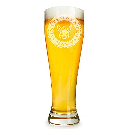 US Navy Engraved 16 ounce Beer Glass Pilsner